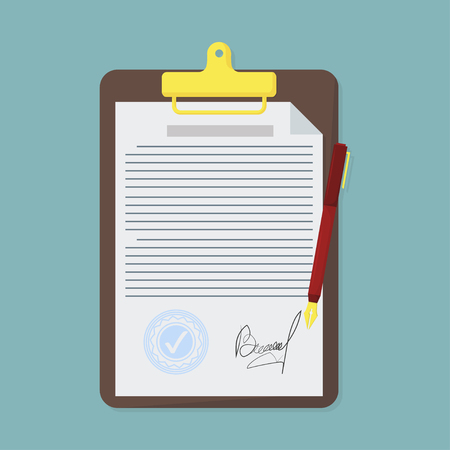 Contract in flat style, business concept, vector illustration
