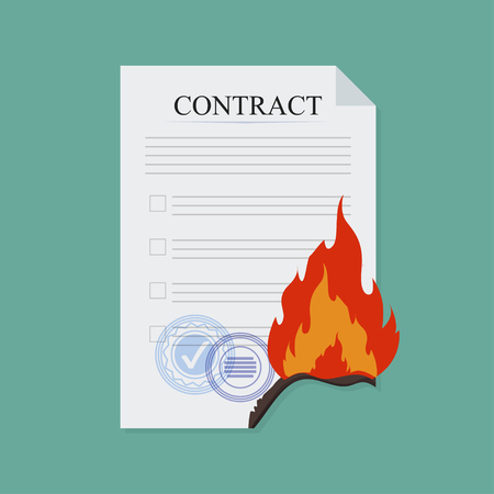 Contract break fire, in flat style, business concept, vector illustration Иллюстрация