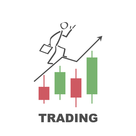 Businessman runs to success by trading - vector design