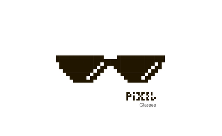 Pixel glasses. Sunglasses pixel. Glasses icon. Illustration in pixel style. Vector