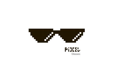 Pixel glasses. Sunglasses pixel. Glasses icon. Illustration in pixel style. Vector Illustration