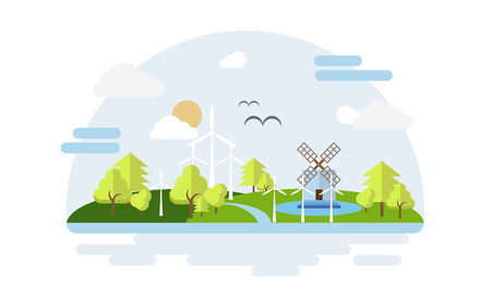 Eco city. Concept energy city. Illustration in landscape style. Vector