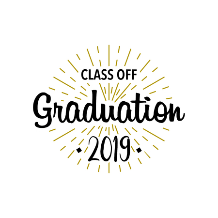 Graduation class off. Sunburst with text. Template Design Elements. Vector illustration