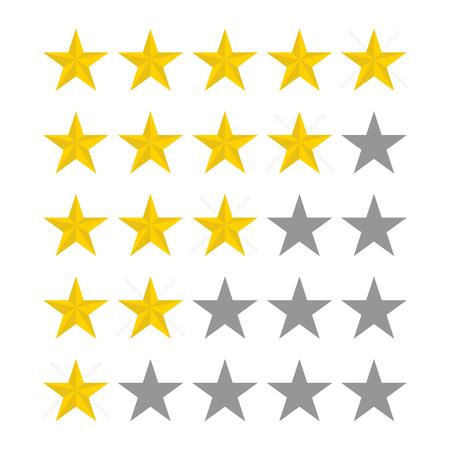 Note d'étoiles. Vecteur cinq étoiles. Conception de taux. Illustration dans un style plat. Illustration vectorielle