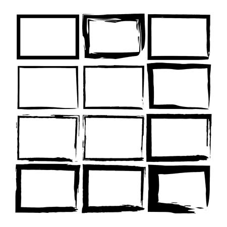 Grunge stamp. Drawn element brush. Brush banner set. Vector illustration Иллюстрация