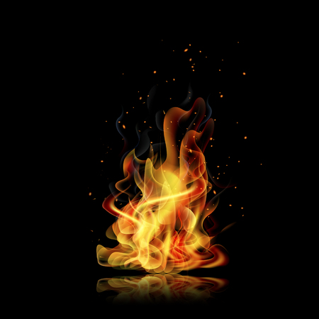Fire flame. Black background. Realistic fire. Vector illustration Illustration