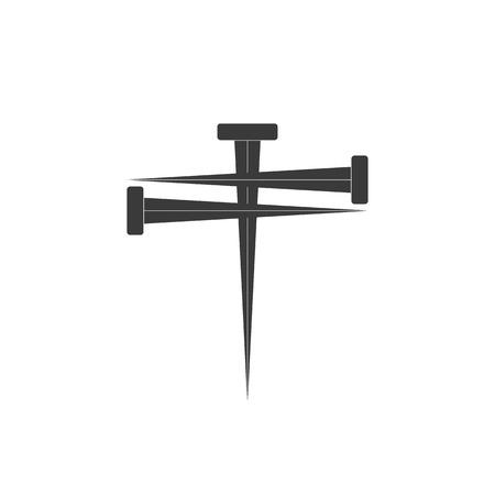 Cross of nail. Cross icon and nail icons. Nail symbol. Vector illustration