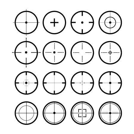 Obiettivo fissato. Simbolo della vista di colore nero. Set di 16 mirini. Illustrazione vettoriale Vettoriali