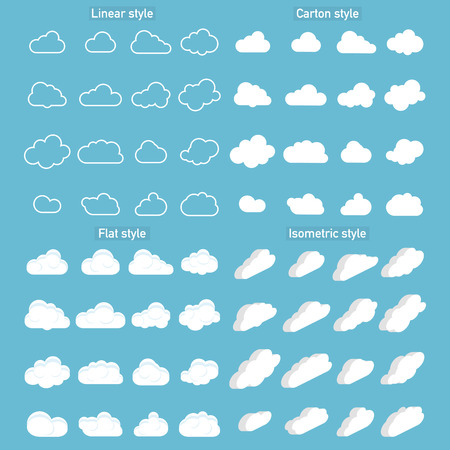 Set of Cloud Icons in trendy in 4 styles. Clouds in flat and carton and isometric, linear style. Cloud on isolated background. Vector illustration  イラスト・ベクター素材