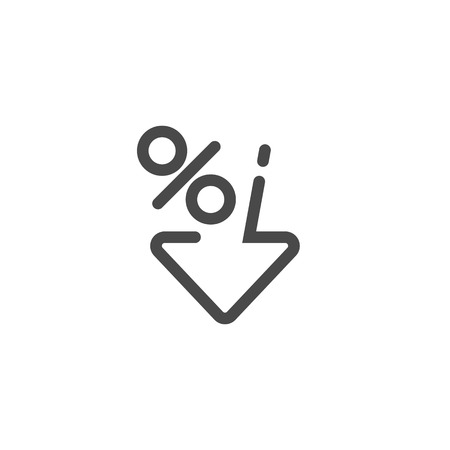 Low percent interest. Percent down icon in linear style. Vector illustration Illustration
