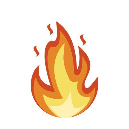 Icona di emoji di fuoco. Segno di fuoco di fiamma. Fuoco isolato su sfondo bianco. Illustrazione vettoriale Vettoriali