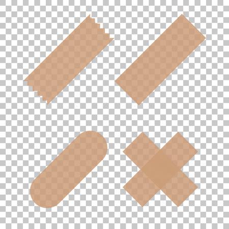 Tape scotch sticky. Scotch transparent isolated. Set tape scotch - vector illustration Standard-Bild - 121098823