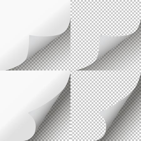 Ensemble de pages bouclées. Peau de page transparente. Illustration vectorielle
