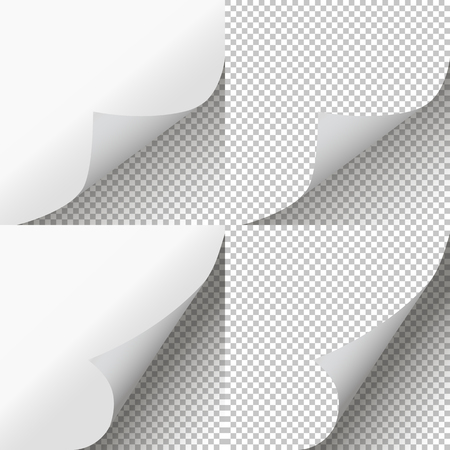 Pages curl set. Page peel transparent. Vector illustration