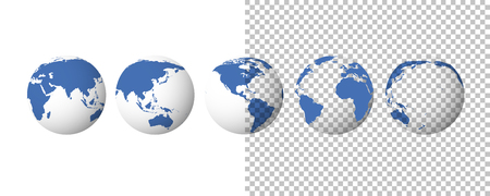 Globe set. Earth transparent isolated background. 3d globe icons. Vector illustration