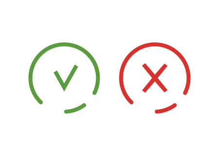 Check mark and cross icon isolated. Symbol green and red colored. Icons in linear style. Vector illustration