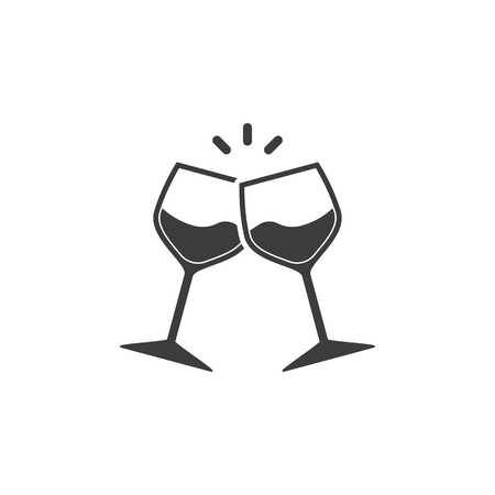 Champagne glasses icon. Glasses with wine in flat style. Vector illustration Banco de Imagens - 122946384