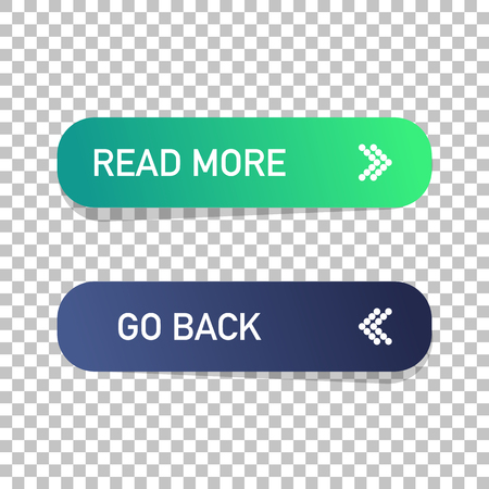 Read more and go back button isolated. Web design. Vector illustration