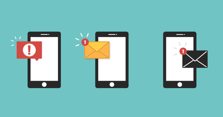 Email notification concept. Sms error red colored. Icon massage set. New sms on smartphone. Illustration in flat design. Vector illustration 일러스트
