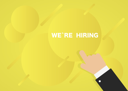 Poster career hiring. Yellow bubble background. Vector illustration  イラスト・ベクター素材