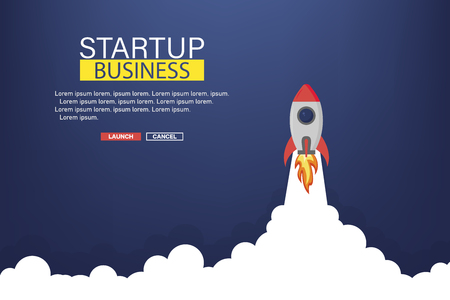 Business startup banner with rocket. Rocket in space. Business background. Vector illustration