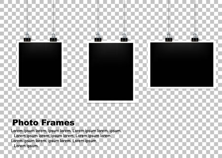 Hanging Photo frame set isolated background. Vector illustration