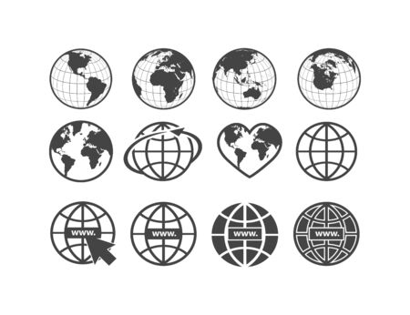 Set of earth globe icons in flat and linear design on a white background. Vector