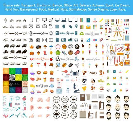 Mega sertie d'icônes et d'arrière-plans dans un style plat. Illustration vectorielle