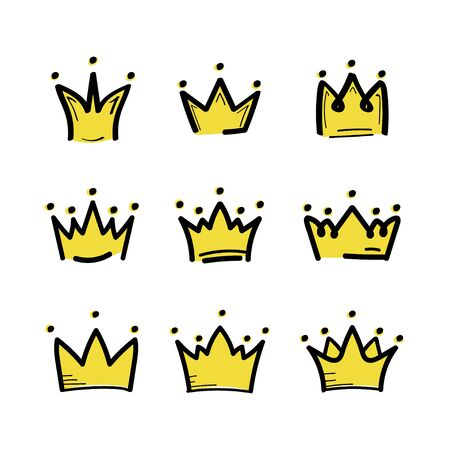 Crown set in sketch draw style. King crown icon. Vector illustration