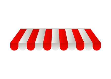 Moderno con toldos rojos para exteriores, sombrilla roja sobre fondo blanco para el diseño de la cubierta. Tienda de café, techo de la tienda. Cortina roja. Ilustración vectorial