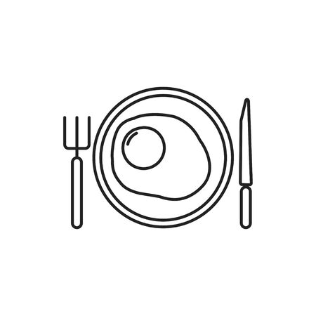 icon fork plate knife spoon vector