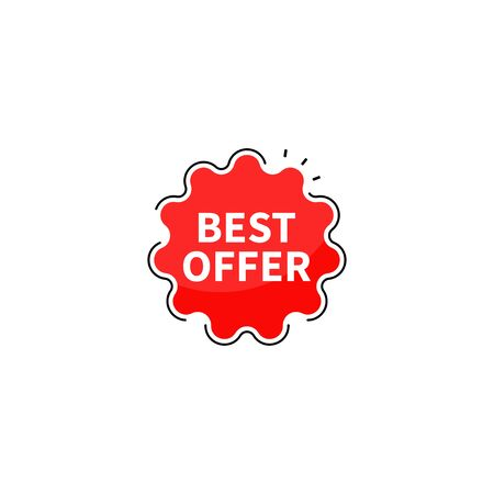Best offer collection tags. Banner red colored. Flat linear promotion ribbon banners. Vector illustration
