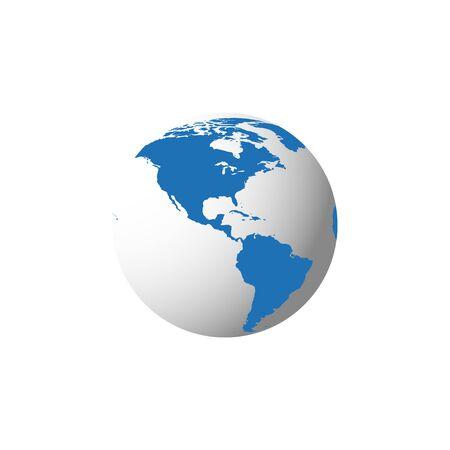 Illustrazione moderna 3d del globo blu con su fondo bianco. Concetto globale. Cartografia del pianeta terra.