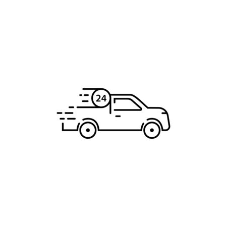 Auto car vector illustration full time 24 hours working service. Isolated vector template. Modern car logo, great linear design for any purposes.