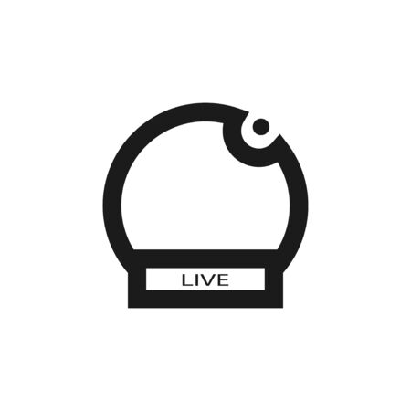 Live broadcasting icon for concept design. Isolated vector illustration sign. Black symbol on white background. Ilustracja