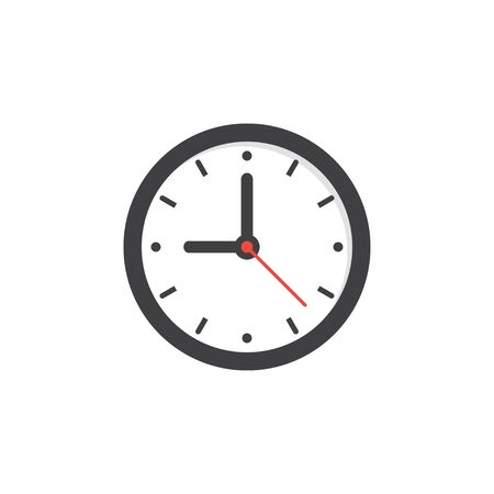 Simple round clock in classic style. Button icon. Vector illustration isolated template.
