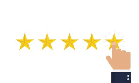 Choose feedback business rating. Vote isolated vector illustration. Gold 5 stars.