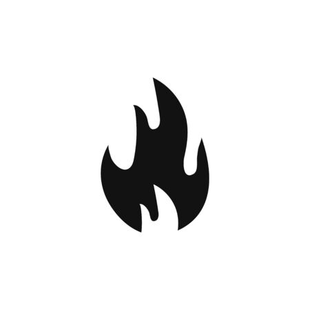 Black burning fire Isolated vector icon.