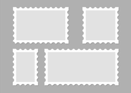 Illustration with blank postage stamps. Isolated vector design. Perforated edge label. Label, sticker vector illustration Ilustração