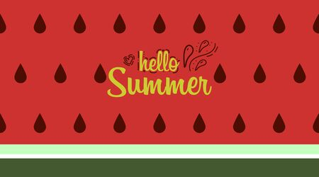 Watermelon background with text Hello summer. Vector illustration