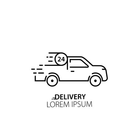 Delivery service van. Template with black delivery car. Fast delivery icon. Truck shipping. Vector template