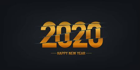 2020 new year golden card poster. Happy new year. Vector background Ilustrace