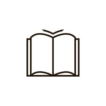 Linear open book icon, abstract vector illustration. Flat reading isolated symbol.
