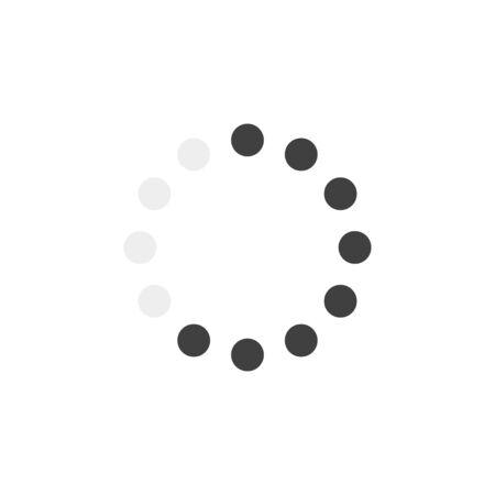 Cercle de chargement noir dans un style moderne sur fond blanc. Illustration vectorielle plane. Télécharger signe. Concept de technologie numérique de réseau.