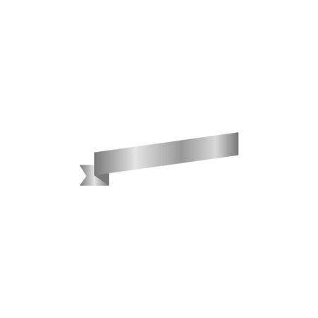 Ribbon or banner vector illustration. Flat vector ribbon banner isolated background. Ribbon silver colored.