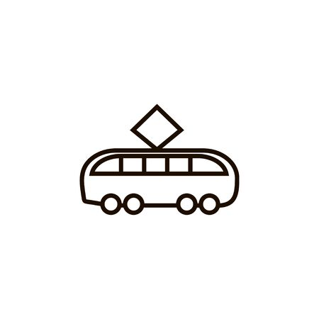 Tram outline icon vector in linear style isolated illustration on white background.