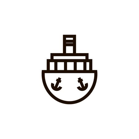Ship outline linear vector icon. Shipping isolated illustration. Ilustracja
