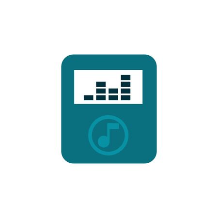 Mp3 player device flat isolated technology illustration for mobile icon design.