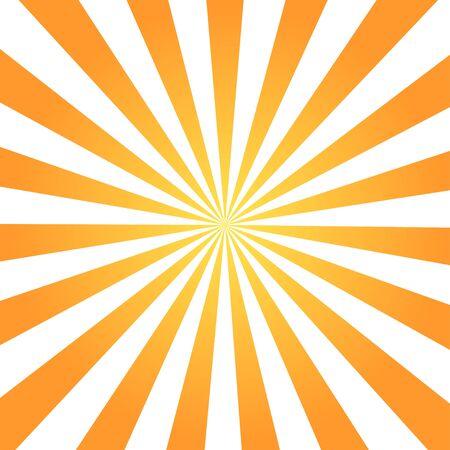 Modello di disegno astratto retrò di raggi di colore con arancione su sfondo bianco per la decorazione. Vettoriali