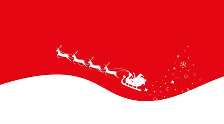 Christmas Sleigh Santa fly in sky. Red background. Silhouette reindeer and sleigh Santa. Vector  イラスト・ベクター素材